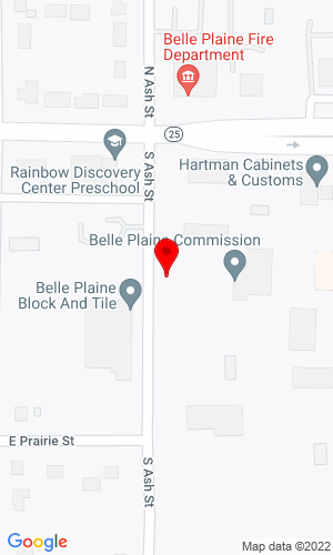 Google Map of Ediger Auction Service 125 S Ash St, Belle Plaine, MN, 56011