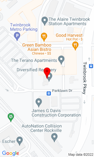 Google Map of Washington Air Compressor Rental Co. 12529 Parklawn Drive, Rockville, MD, 20852