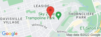 Google Map of 127+Laird+Drive%2CToronto%2COntario+M4G+3V4