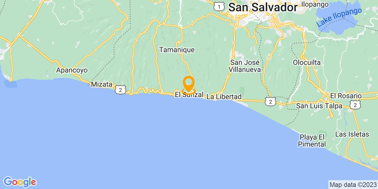 Google Map - CA-2, El Sunzal, El Salvador