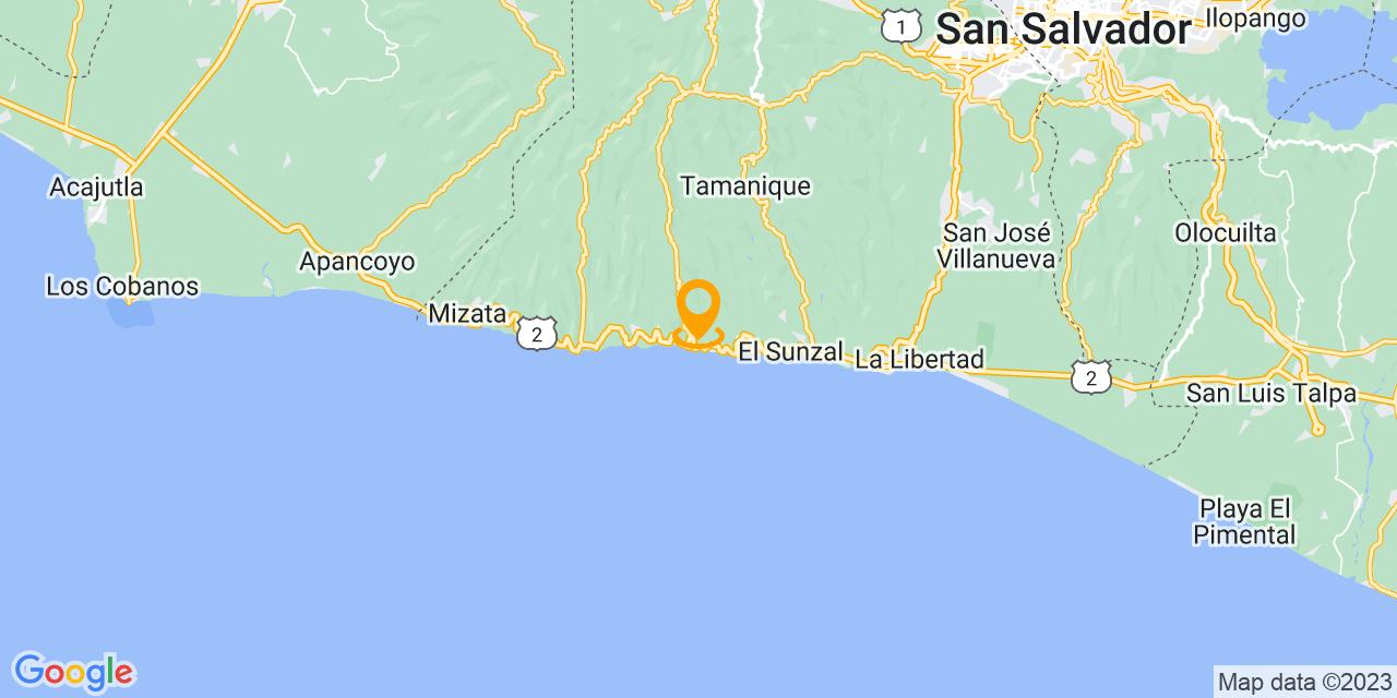 Google Map - CA-2, El Zonte, El Salvador