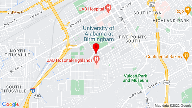 Google Map of 1301 10th Avenue South, Birmingham, AL