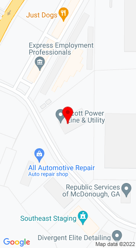 Google Map of Scott Powerline Equipment 1305 Meredith Park Drive+McDonough+GA+30253