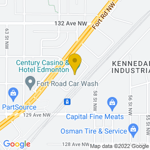 Map to Century Casino Edmonton provided by Google