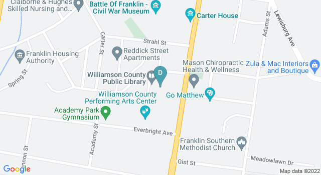 Static Google maps image of the williamson county library location