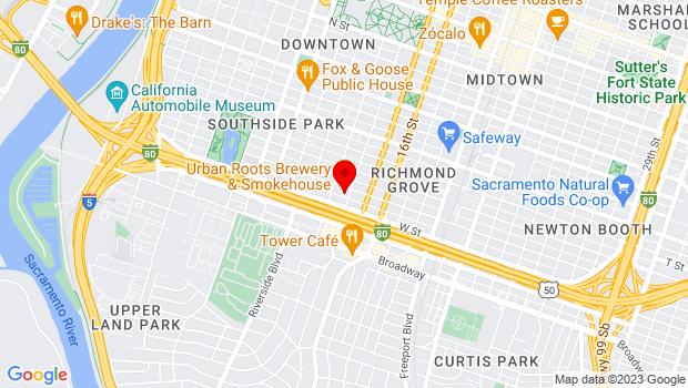 Google Map of 1322 V St., Sacramento, CA 95818