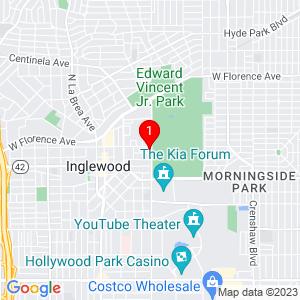Google Map of 133 North Prairie Avenue, 1, Inglewood, CA 90301