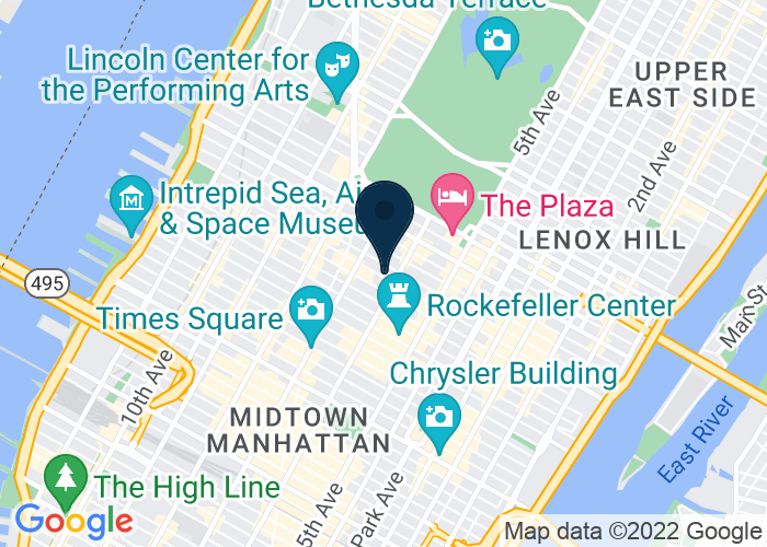 Map of 1335 Avenue of the Americas, New York City, NY 10019, United States