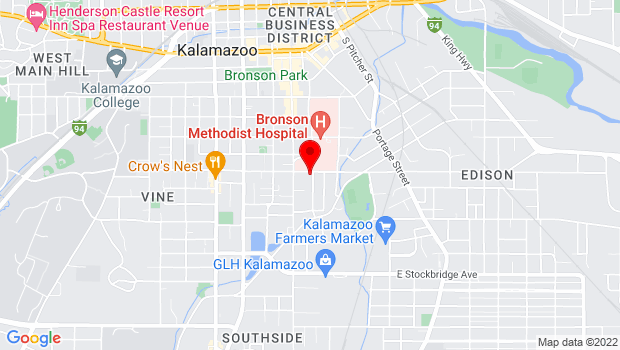 Google Map of 134 E. Vine St., Kalamazoo, MI 49001