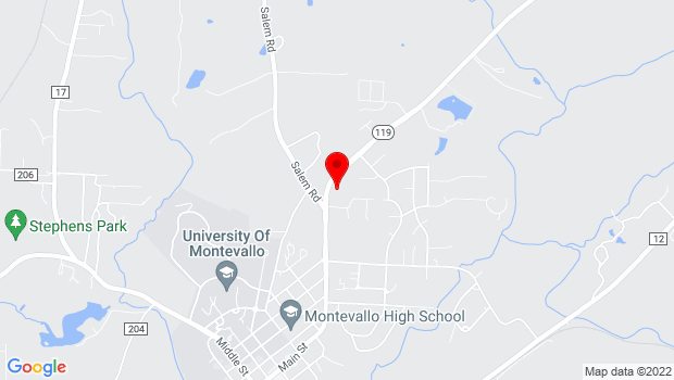 Google Map of 135 Ashville Circle, Montevallo, AL 35115