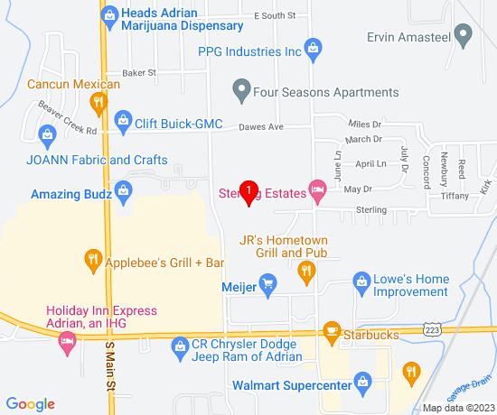 Google Map of 1355 S Winter St, Adrian MI 49221