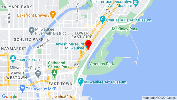 Google Map of 1360 N. Prospect Avenue, Milwaukee, WI 53202