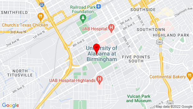 Google Map of 1400 University Boulevard, Birmingham, AL 35233
