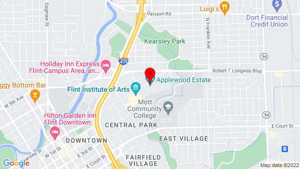Google Map of 1400 E. Kearsley St., Flint, MI 48503