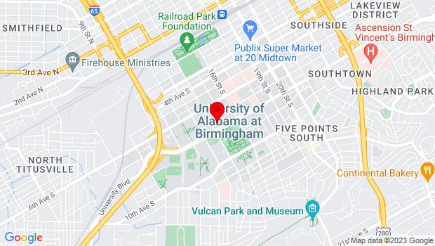 Google Map of 1400 University Boulevard, Birmingham, AL 35233