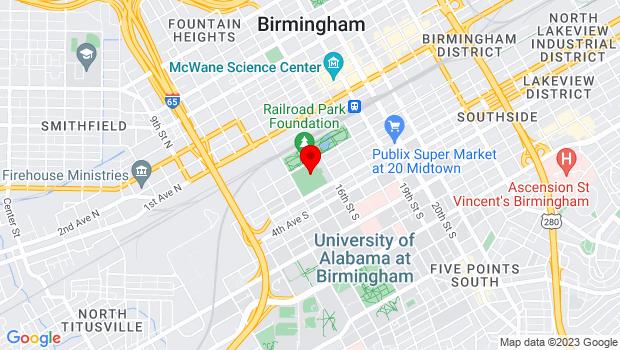 Google Map of 1401 1st Ave. S., Birmingham, AL 35233