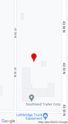 Google Map of Southland Trailer Corp. 1405 41st N, Lethbridge, Alberta, Canada, T1H 6G3