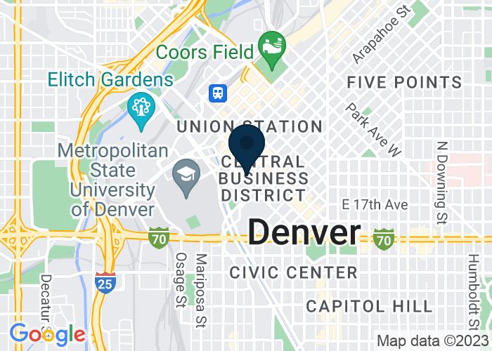 Map of 1405 Curtis Street, Denver, CO 80202, United States