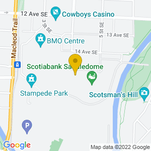Map to Calgary Stampede provided by Google