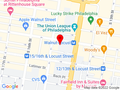 Google Map of 1420 Walnut St Suite 911  Philadelphia PA, 19102