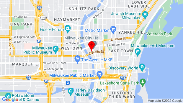 Google Map of 144 E. Wells Street, Milwaukee, WI 53202