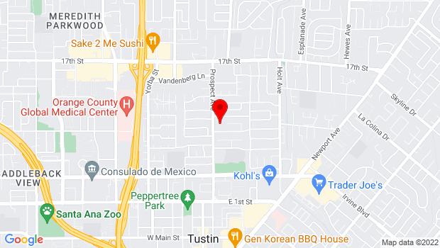 Google Map of 14402 Prospect Ave, Tustin, CA 92780
