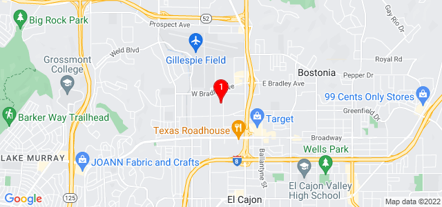 Google Map of 1444 Pioneer Way, El Cajon, CA 92020