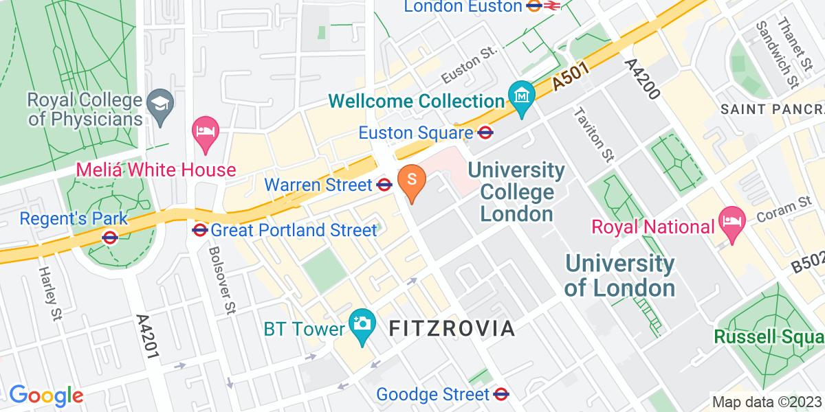 Google Map of 145 Tottenham Court Road London W1T 7NE