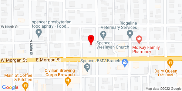 Google Map of 145 N Harrison St, Spencer, IN 47460