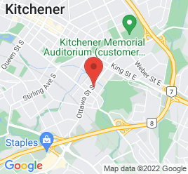 Google Map of 145+Ottawa+Street%2CKitchener%2COntario+N2G+3T2