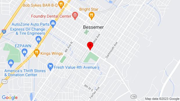 Google Map of 14th Street & Hall Ave, Bessemer, AL 35020