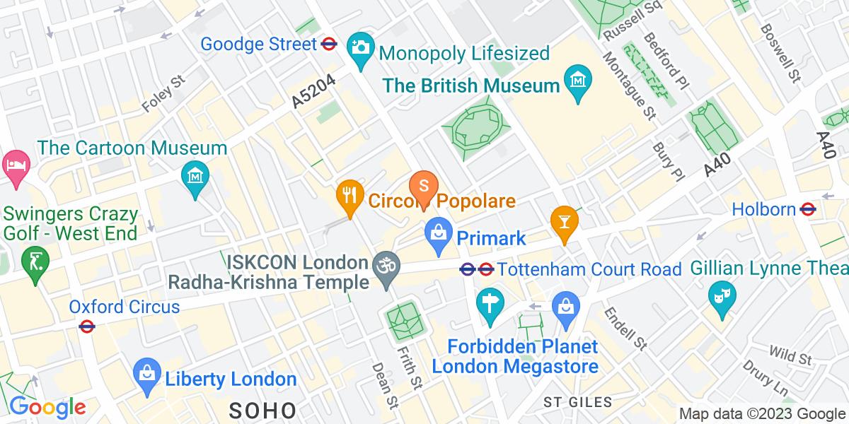 Google Map of 15-17 Tottenham Court Road London W1T 1BJ