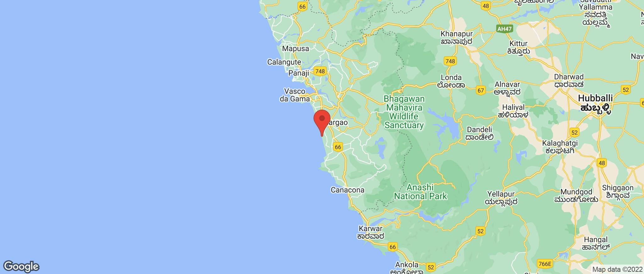 Map showing the location of Varca Beach