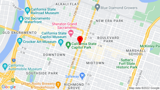 Google Map of 1500 K street, Sacramento, CA 95814