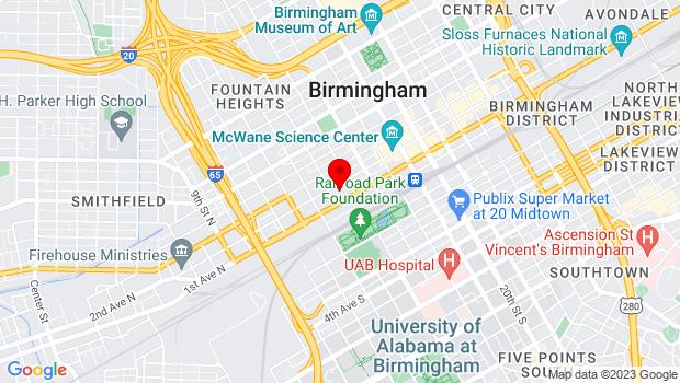 Google Map of 1500 1st Ave North, Birmingham, AL