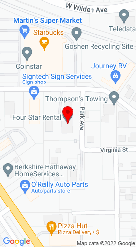 Google Map of Four Star Rental, LLC. 1504 Bashor Road Po Box 1204, Goshen, IN, 46528
