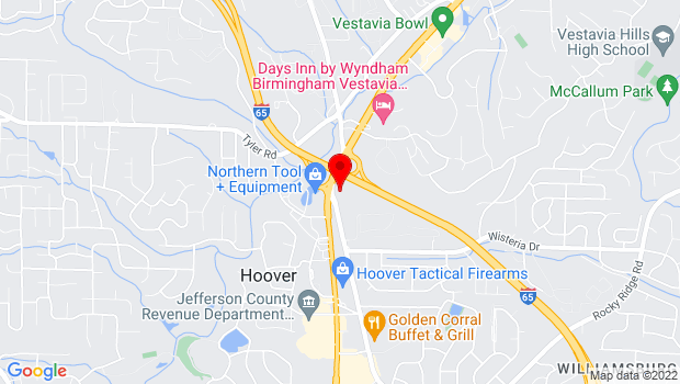 Google Map of 1535 Montgomery Hwy, Hoover, AL 35216 (corner of Lorna Rd & Montgomery Hwy next to Waffle House!), Pelham, AL
