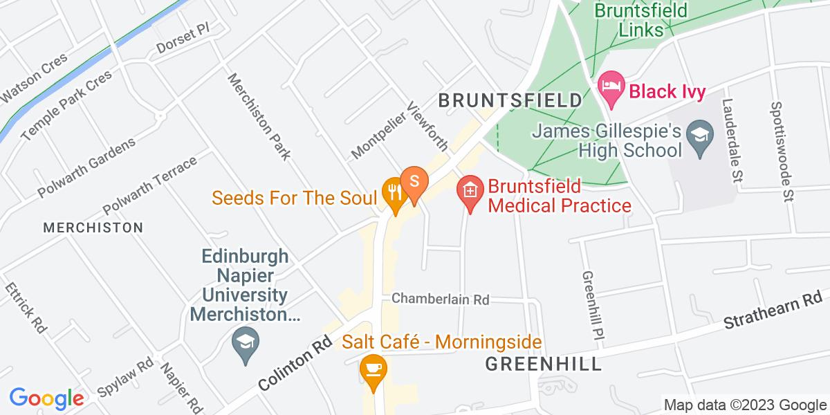 Google Map of 155-159 Bruntsfield Place Edinburgh EH10 4DG