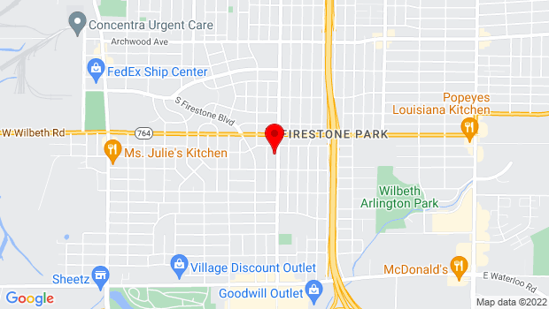 Google Map of 1580 Brown St, Akron, OH 44301