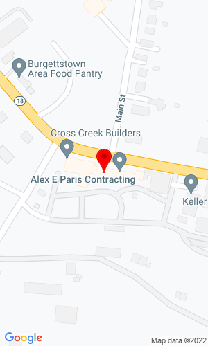 Google Map of Alex E. Paris Contracting Company, Inc. 1595 Smith Twp State Road (Rt 18), Atlasburg, PA, 15004