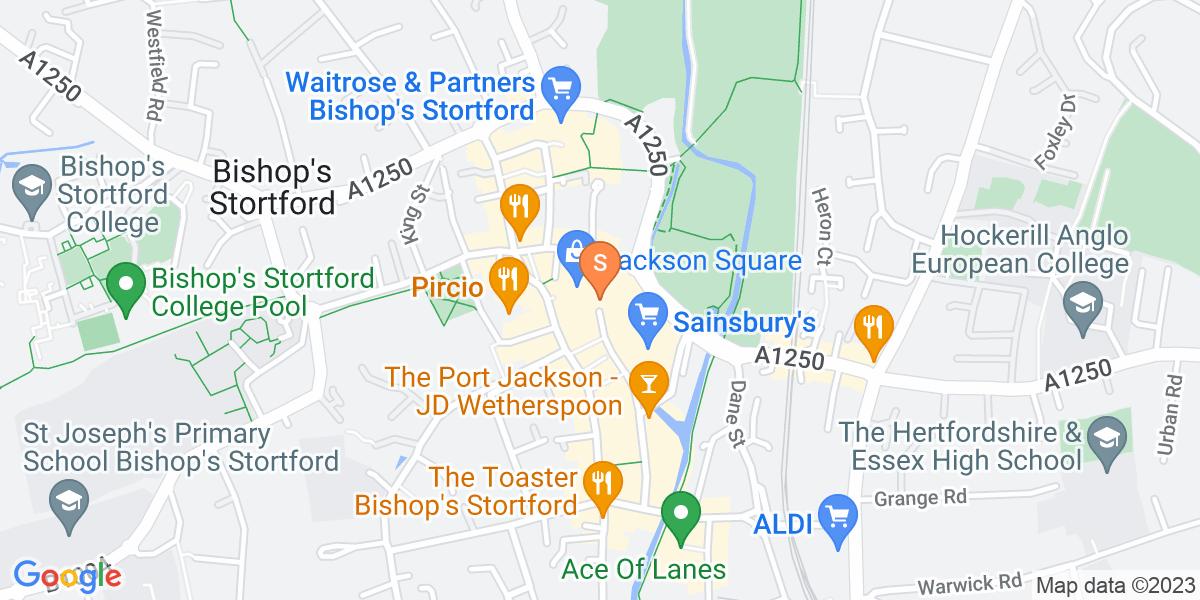 Google Map of 16 Jackson Square Bishop's Stortford CM23 3XG