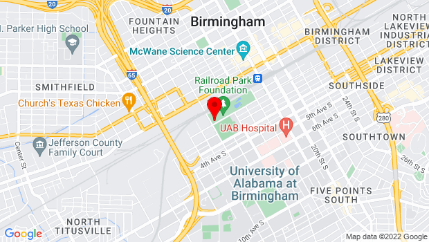 Google Map of 1600 1st Ave South, Birmingham, AL 35233