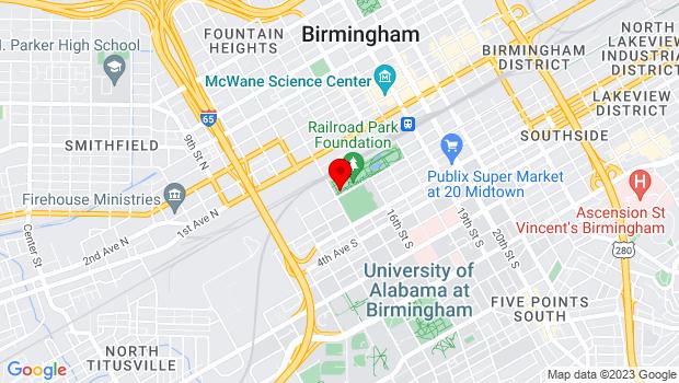 Google Map of 1600 1st Avenue South, Birmingham, AL 35233
