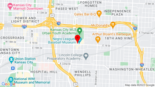 Google Map of 1600 E 18th St., Kansas City, MO 64108
