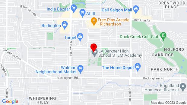 Google Map of 1600 E. Spring Valley Road, Richardson, TX 75081