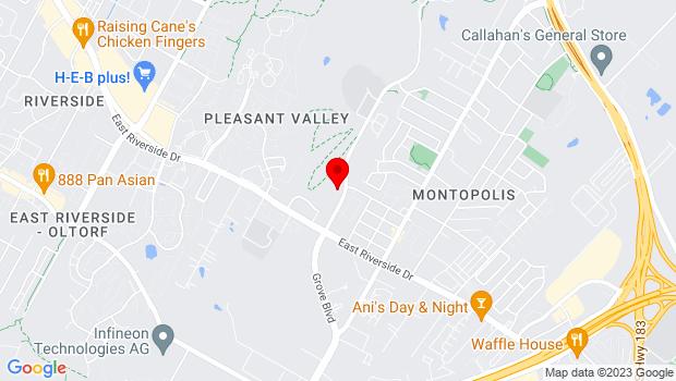 Google Map of 1600 Grove Blvd., Austin, TX 78741