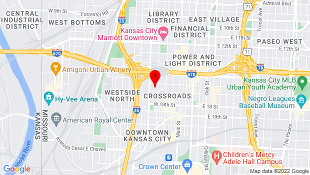 Google Map of 1601 Broadway Blvd., Kansas City, MO 64108