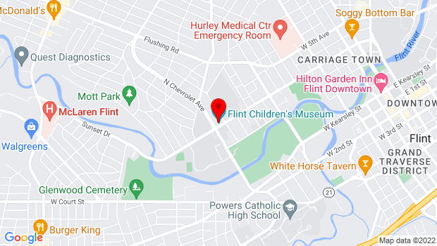 Google Map of 1602 University Ave, Flint, MI 48504