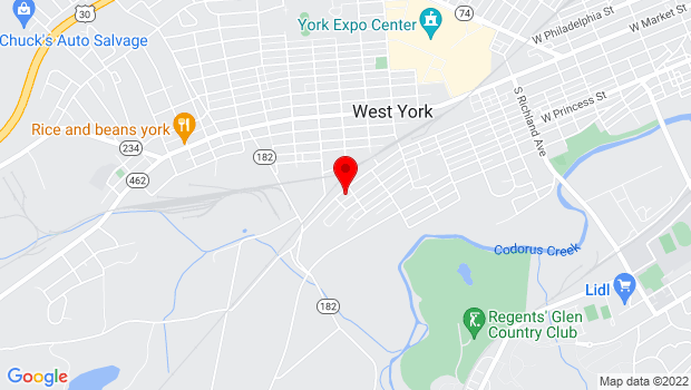 Google Map of 1612 W King St, York, PA 17404