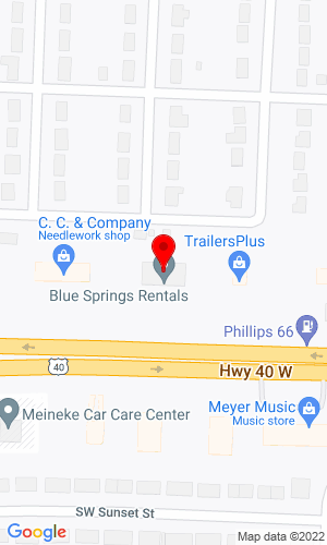 Google Map of Sunflower Rents, Inc. Dba Blue Springs Rental 1615 West Highway 40, Blue Springs, MO, 64015